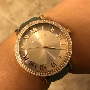 Michael Kors rose gold watch/grey leather band